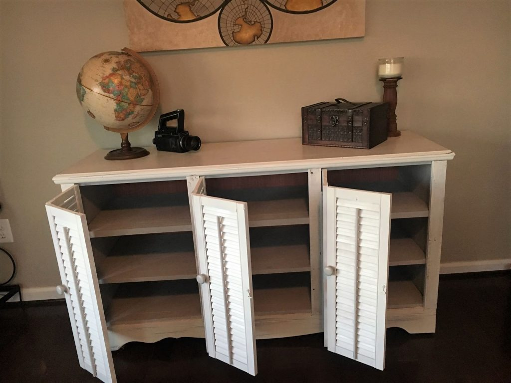 Dresser refinished into shutter buffet with doors open
