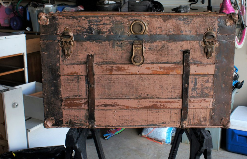 Antique trunk scraped clean