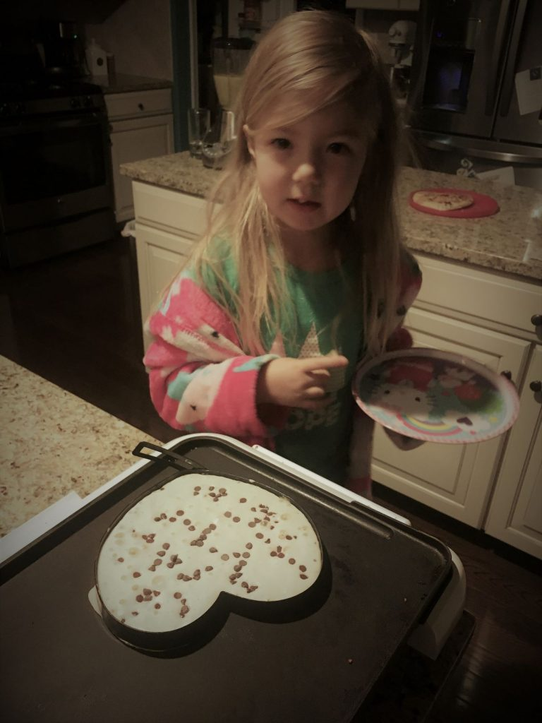 Valentine's chocolate chip pancakes