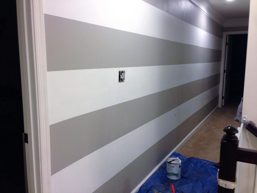 Finished Striped hallway paint idea