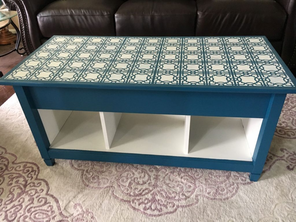 Stencil Coffee Table Refinish Final Product