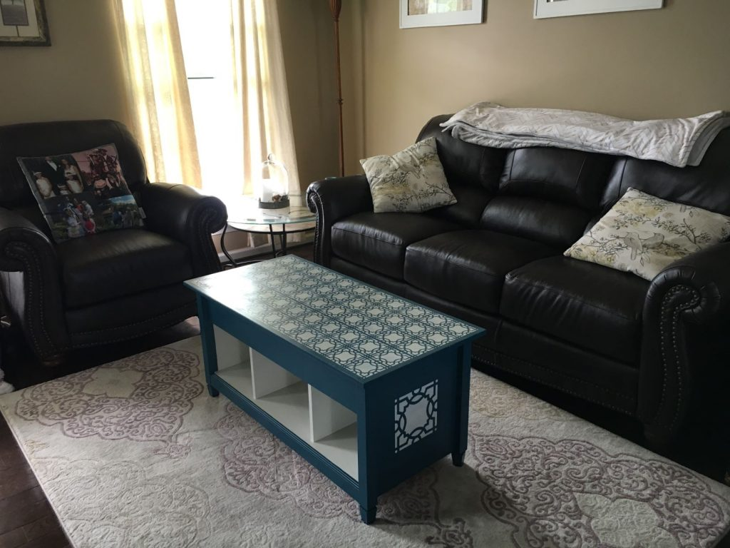Stencil Coffee Table Refinish in living room