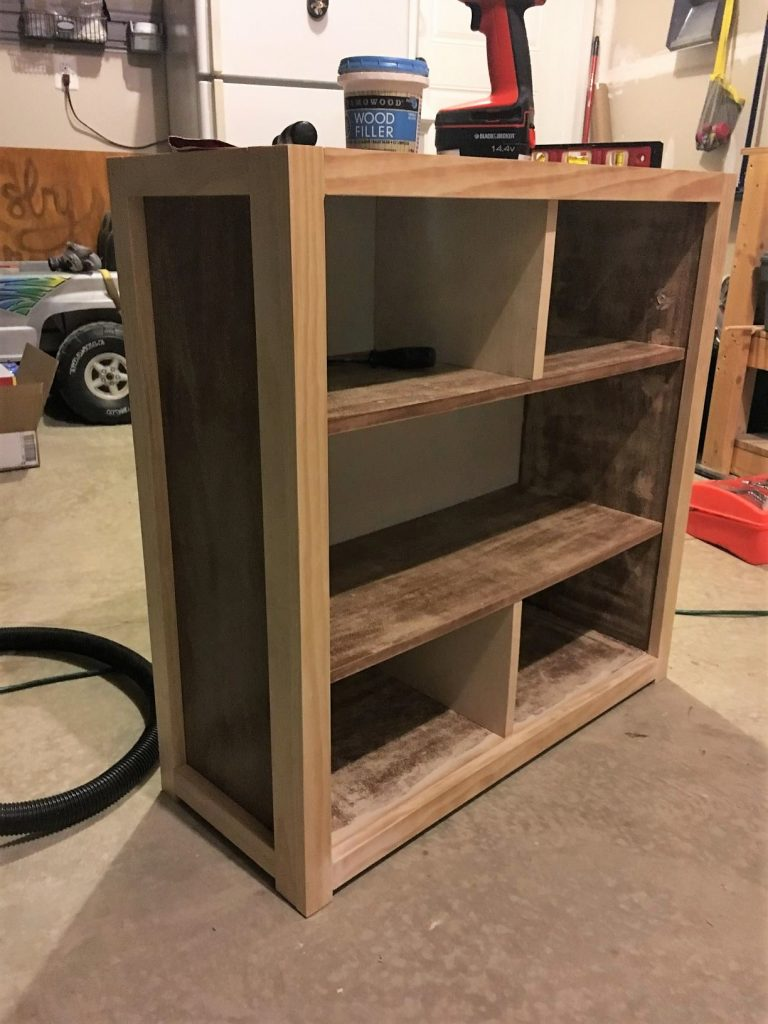 Composite bookcase with new frame