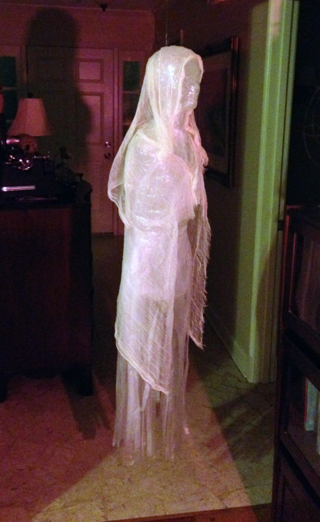 DIY Halloween Decorations: Packing tape and trash bag ghost