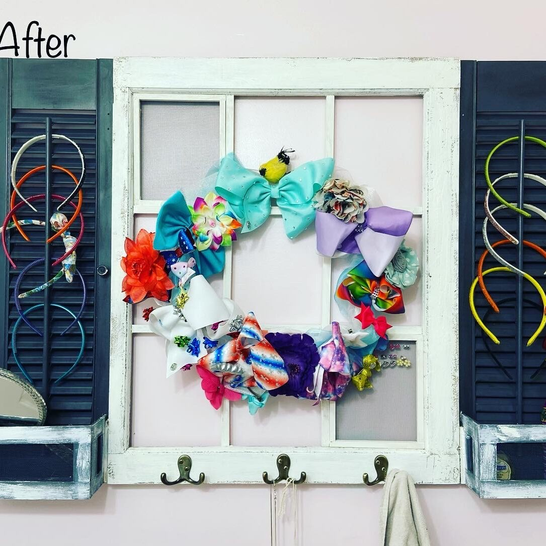 Repurposed old window after